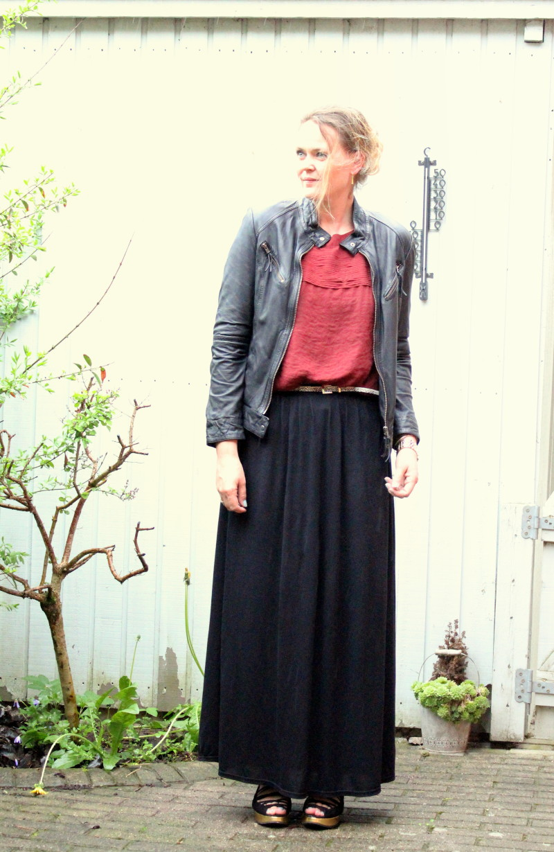 maxi skirt leather jacket provider topshop