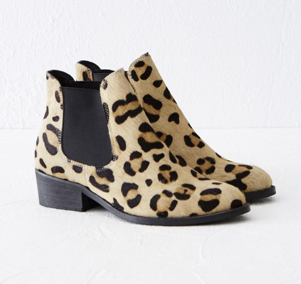 Warehouse leopard ankelstøvler